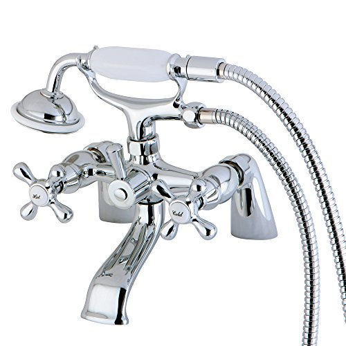 """Nuvo ES2671X Elements of Design Charleston Deck Mount Claw Foot Tub Filler with Hand Shower, 6-1/2"""", Polished Chrome"""
