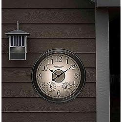 Lighted Indoor/Outdoor Wall Clock/Weather Station in Bronze