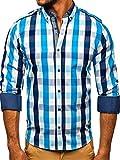 BOLF Hombre Camisa a Cuadros de Manga Larga Cuello Americano Camisa de Algodón Slim fit Estilo Casual 2779 Azul Claro M [2B2]