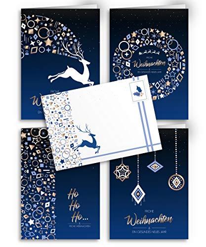 Weihnachtskarten mit Umschlägen - 20 Stück   Modern Design - Blau   4 Motive + passender Umschlag   Für Familie, Freunde & geschäftlich   Edel Weihnachtskarten-Set Klappkarten mit Umschlag Set