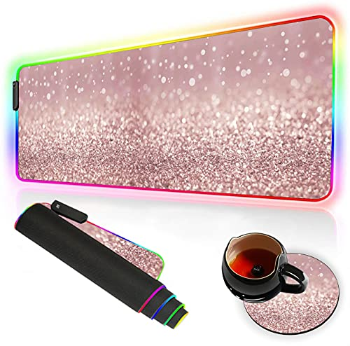 Gaming Mouse Pad and Coasters Large Anti Slip Mouse Pad Extended Desk Pad Mice Pads with Non-Slip Rubber Base Led Mouse Pad Office Desk Mouse Mat Tech Mouse Pad Rose Gold Rainbow Glitter