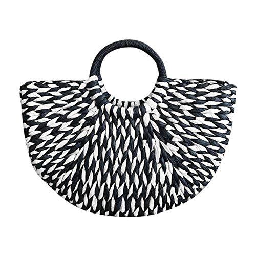 arthomer Bolso De Paja Bolso de Mujer Bolsa de Paja semicircular The Semicircle Art Beach Bag Straw Bag Moon Bag Bolsa de Paja en Forma de Media Luna