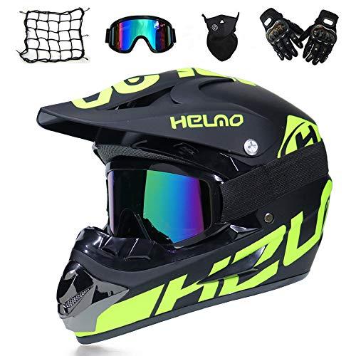 MRDEAR Motocross Helm, Adult Crosshelm mit Brille Handschuhe Motorrad Netz, Erwachsener Off Road Fullface MTB Helm Mopedhelm Motorradhelm für Damen Herren Sicherheit Schutz,M