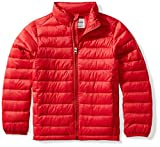 Amazon Essentials Kids Boys Light-Weight Water-Resistant Packable Puffer Jackets Coats, Red, Medium