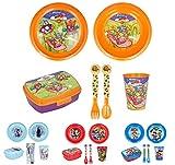 Vajilla infantil de 6 piezas de Super zings para niños y niñas. Contiene plato, vaso, tenedor, cuchillo, cuenco y sandwichera (Super zings - 6pcs)