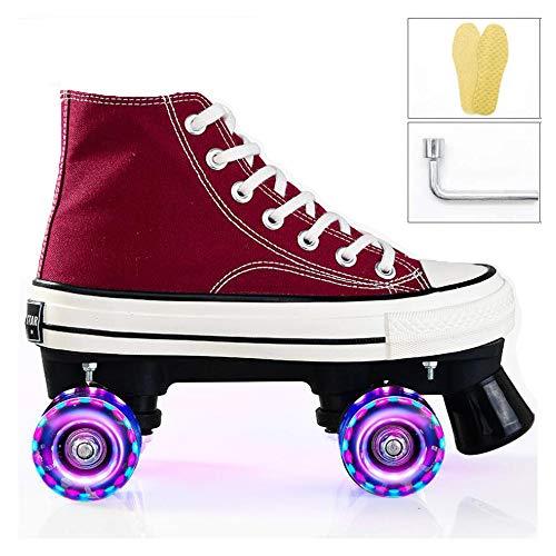 HIHIHI Zweireihige Roller Skates,Quad Räder-Skate Skateboardschuhe,LED Flash Rollschuh Stiefel,Erwachsene Speed Skates Für Kinder Einstellbare Größe Geeignet Für Anfänger,Rot,43