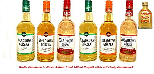 MEGA Aktion 6 Flaschen Polnischer Wodka Zoladkowa Gorzka 2 Minze 2 Traditionelle 2 Black Cherry Gesamt 3 Liter + 1 GRATIS Geschenk 1 mal 100ml Krupnik