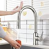 Synlyn Rubinetto da cucina con sensore tattile con doccia estensibile da 60 cm, rubinetto per lavabo girevole a 360 ° Rubinetto a induzione in acciaio inossidabile 304 - 2 modalità di spruzzatura