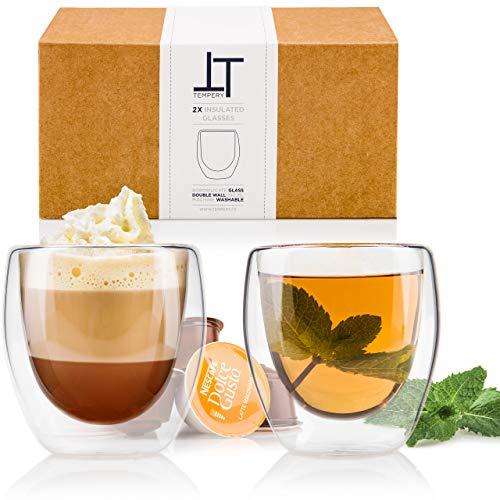 Tempery ✮ Doppelwandige Gläser/Latte Macchiato Gläser/Cappuccino Tassen - 250ml - Set aus 2 Doppelwandige Kaffeegläser - Original Teegläser & perfekt Geschenk für Jede Gelegenheit