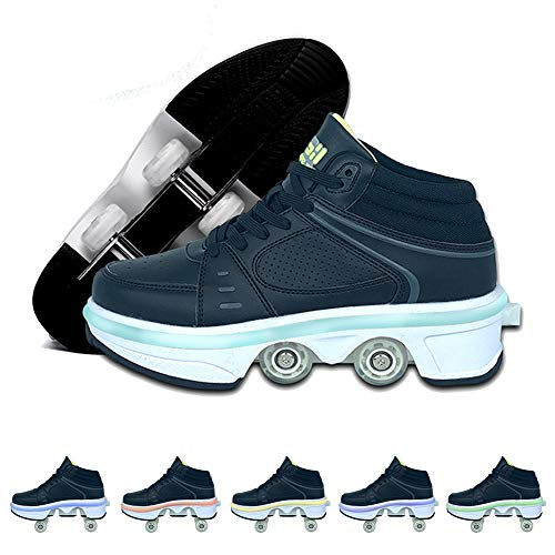 GGOODD Patines de Deformación Informal con Cuatro Ruedas, luz LED de 7 Colores y Botones Ajustables, Zapatos Multiusos 2 en 1, Zapatos Deportivos para Exteriores para Niñas y Niños,42