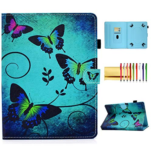 Universal 9.6-10.5 inch Tablet Case, Techcircle PU Leather Folio Stand Magnetic Book Cover with Card/Pen Holder, for Sumsung/Lenovo Tab/Asus/iPad 9.7/Fire HD 10 & More 10 Inch, Dark Green Butterflies