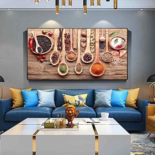 Wieoc Spezie Colorate E Cucchiaio in Dipinti su Tela da Tavola Cucina A Tema Wall Art Decor Food Concept Stampe su Tela retrò 50X100Cm