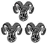 Umama Patch Set of 3 Black Gray Skull Goat Cartoon...