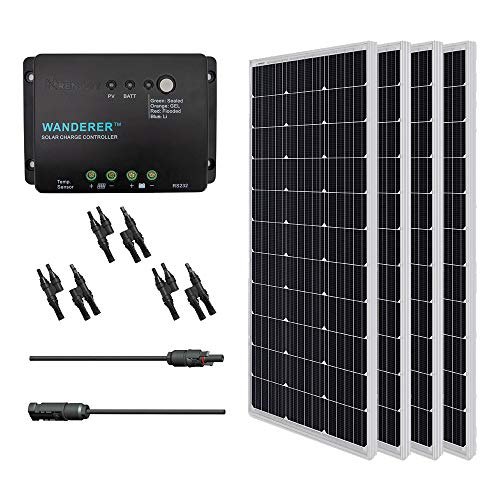 Renogy 400 Watt 12 Volt Monocrystalline Solar Panel, 400W, Bundle Kit with 30A Negative ground Charge Controller