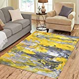 Pinbeam Area Rug Knife Grey and Yellow Abstract Painting Modern Palette Home Decor Floor Rug 3' x 5' Carpet