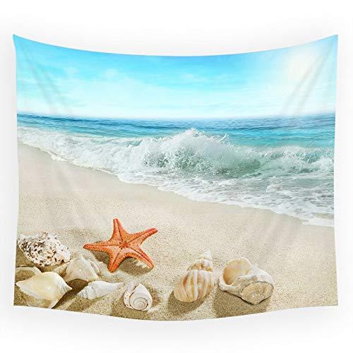 WERT Paisaje de Playa Junto al mar, Tapiz de Concha de Concha de Estrella de mar, Fondo de Sala de Estar, Dormitorio artístico, Manta de Pared, Tapiz A2 130x150cm