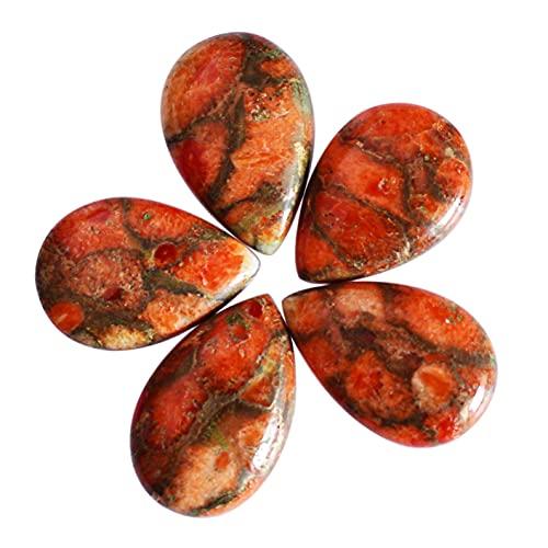 Cabujón de pera de color naranja de calidad AAA, 5 piezas, tamaño 15,5 x 10 x 3 mm, color naranja y cobre turquesa para hacer joyas de piedra, 24103