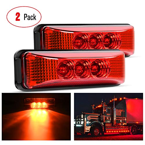 Nilight - TL-32 2PCS 3.9Inch 3 LED Truck Trailer Red Light Front Rear LED Side Marker Lights Clearance Indicator Lamp Rock Light Waterproof Sealed Surface Mounted