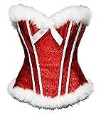 Bslingerie Sexy Christmas Santa Girl Costume Corset Top (XL, Red Sequin)