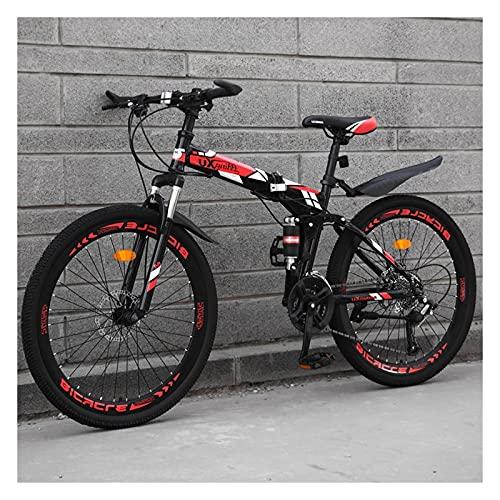 HHGO Bicicleta De Montaña De 24 Pulgadas, Bicicletas Plegables, Sistema De Amortiguador De 27 Velocidades, con Marco De Acero De Alto Carbono, Bicicletas para Adultos Deportes Y Aire Libre