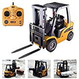 FXQIN Remote Control Forklift Construction Trucks Toys for Kids and Adults 1:10 Scale 8 Channel RC Forklift with LED Lights and Pallet Professional Engineering Vehicle Toys, Yellow