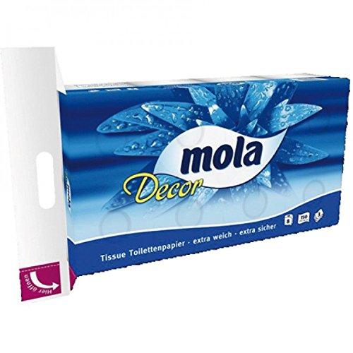 Mola Decor Toilettenpapier Klopapier 3 lagig, 9 Packungen (je 8 Rollen x 150 Blatt)