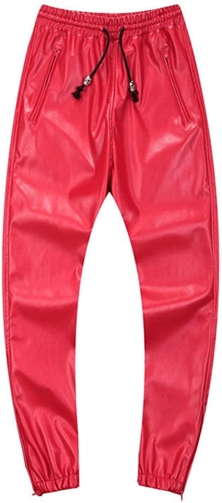 Idopy Men`s Max 82% Mail order OFF Leather Joggers with Pants Drawstring
