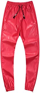 Men`s Leather Joggers Pants with Drawstring