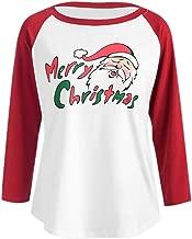 Elogoog Women's Christmas Santa Reindeer Print 3/4 Sleeve Baseball Splicing T-Shirt Tops