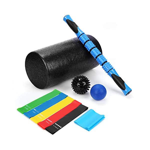 Foam Roller Set, SKL 10 in 1 Muscle Roller with Massage Roller, Resistance Bands Stretching Band Massage Balls, for Deep Tissue Massage Muscle Recovery