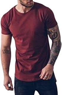Howely Mens Casual Button Solid Color Shirt High Low Short Sleeve Tops Tees