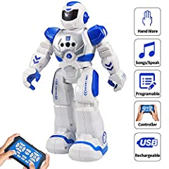 Great Christmas gift for children,Great Birthday gift for kids. Interactive Robot:This RC Robot is the best robot partner for your kids,which can bring more funny to kids with singing,dancing,walking,sliding and interacting. Intelligent Remote Contro...