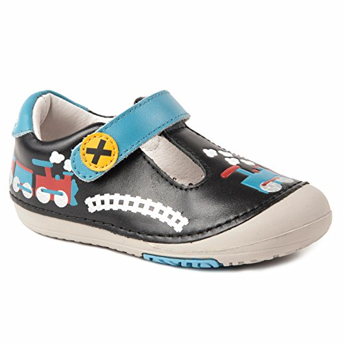 Momo Baby Boys First Walker/Toddler Train Black T-Strap Leather Shoes - 4 M US Toddler