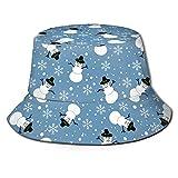 Lawenp Navidad Muñeco de Nieve Copo de Nieve Sombrero Azul Sombrero de Cubo con Estampado Unisex Sombreros de Pescador Sombrero de Pesca Gorra Plegable Reversible de Verano Mujeres Hombres Sombrero