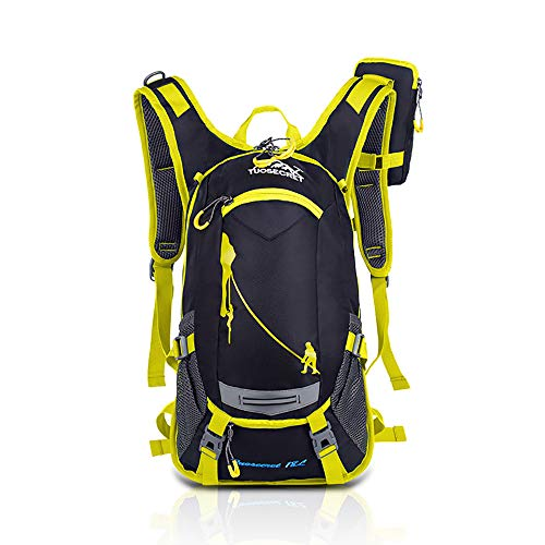HWJIANFENG Outdoor Fahrradtasche Fahrradhelm Rucksack Wasserdicht Stoff M gelb