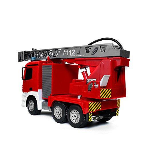 RC LKW kaufen LKW Bild 1: Mercedes-Benz Antos - original RC ferngesteuerter Feuerwehrwagen mit der neuesten 2.4GHz-Technik, wiederaufladbarer Akku, steuerbarer Rettungsleiter, Sound- und LED-Effekte, Komplett-Set inkl. Akku und Ladegerät*