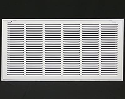 "30"" X 12"" Steel Return Air Filter Grille for 1"" Filter - Removable Face/Door - HVAC Duct Cover - Flat Stamped Face -White [Outer Dimensions: 31.75w X 13.75h]"