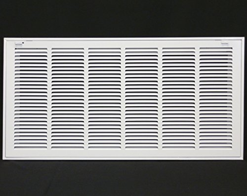 30' X 10' Steel Return Air Filter Grille for 1' Filter - Removable Face/Door - HVAC Duct Cover - Flat Stamped Face -White [Outer Dimensions: 31.75w X 11.75h]