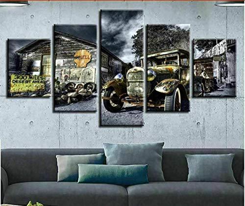 WUHUAGUO 5 Paneles Cuadros En Lienzo Imágenes Decorativas Granja De Granero De Coche Wall Art Decoración del Hogar Impresiones HD Póster 150X80Cm Mural De La Decoración De La Pared