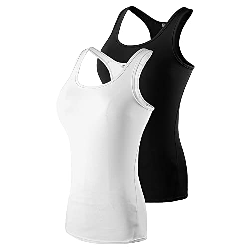 dc9ca83b4d0fb Leisimi Women Performance Compression Athletic Running Tank Tops Racer-Back  Vest Yoga Base Layer Shirt