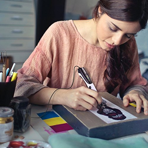 Ledyoung 3D Stift, 3D Druck Stift mit LCD Bildschirm für Kinder, Packung mit 1 Stift und 1.75mm PLA Filament von 16 Verschiedenen Farben (Für EU, Schwarz + Weiss) (for EU, White) - 7