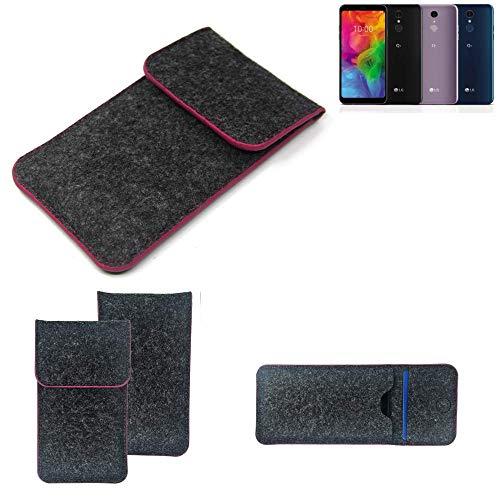 K-S-Trade® Filz Schutz Hülle Für LG Electronics Q7 Alfa Schutzhülle Filztasche Pouch Tasche Case Sleeve Handyhülle Filzhülle Dunkelgrau Rosa Rand