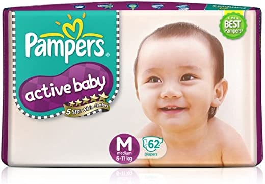 Pampers Active Baby Diapers, Medium, 62 Count