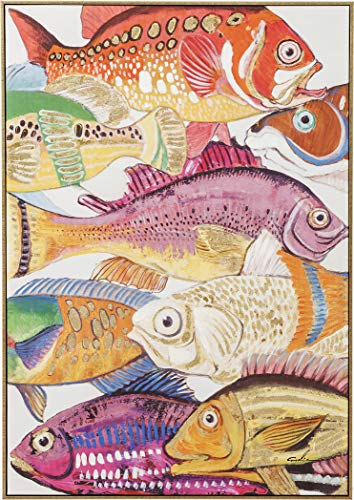 Kare Design Bild Touched Fish Meeting One, 100x75cm, buntes Bild mit Motiv, bunte Fische, teilweise handbemalt, in weiteren Ausführungen erhältlich