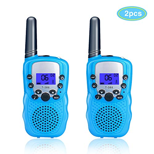 TX Walkie Talkies for Kids 2 Pack, Toys for Kids 22 Channels Long Distance Up to 2 Mile Range with Flashlight Outdoor Camping & Hiking Best Christmas Birthday Gift for Kids-1 Pair Blue