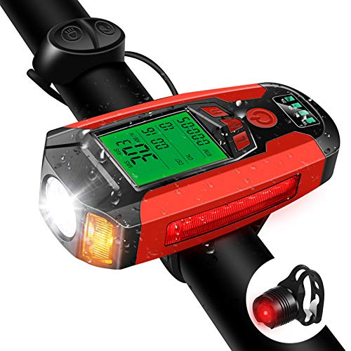Bike Lights Set, Bike Speedometer, USB Rechargeable Headlight Lights Taillight with Loud Bike Bell, 350 Lumen 5 Lighting Modes Flashlight Commuter- Riding Hiking Camping All Mountain & Road Cycling