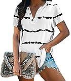 Camiseta de verano para mujer, estilo informal, cuello en V, manga corta, a rayas, suelta, con botones, túnica Blanco S