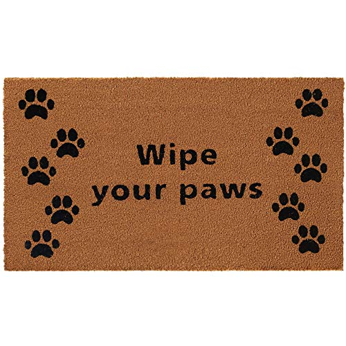 Gorilla Grip Premium Durable Coir Door Mat, 30x18, Thick Heavy Duty Coco Doormat for Indoor Outdoor, Easy Clean, Low Maintenance, Low-Profile Mats for Entry, Patio, Busy Areas, Wipe Yours Paws
