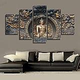 HUANGXLL HD Impreso Estatua de Buda Pintura Arte de la Pared impresión de la habitación póster Imagen Lienzo Decoraciones de Pared para Sala de Estar Dormitorio-30x40cm 30x60cm 30x80cm Sin Marco
