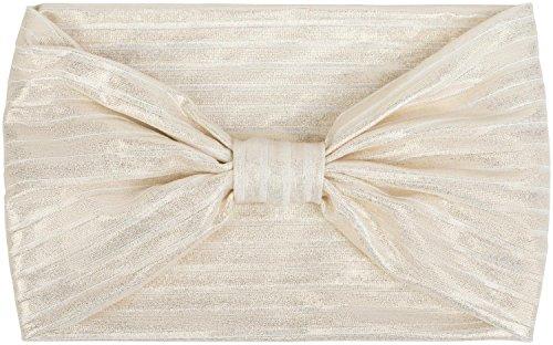 styleBREAKER Damen Glitzer Haarband mit Schleife in Metallic Streifen Optik, Stirnband, Headband, Haarschmuck 04026017, Farbe:Weiß/Gold
